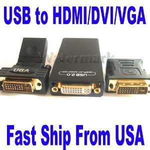 USB 2.0 To VGA/DVI/HDMI Multi Display Graphic Adapter