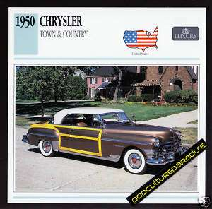 1950 CHRYSLER TOWN & COUNTRY Woody Car PHOTO SPEC CARD