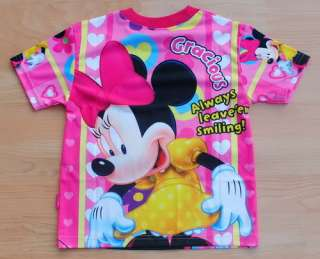 Disney MINNIE MOUSE Girls T Shirt Size S Age 2 4 #03