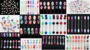 14g Tongue Rings WHOLESALE Body Jewelry Mixed Lot 20 Pc