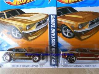 2012 Hot Wheels 67 FORD MUSTANG COUPE 1967 Lot 2 Super Treasure Hunt
