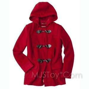 Wool Toggle Front Coat Hooded Red Warm Winter Jacket Sz Small