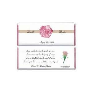WA237   Wedding Elegant Pink Rose Candy Bar Wrapper
