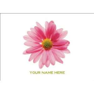 Personalized Stationery Note Cards with Pink Gerbera Daisy