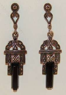 AUTHENTIC Art Deco Sterling Silver Onyx & Marcasite Dangle Earrings