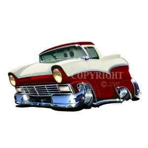 24 DB 1957 Ford Ranchero Antique Truck Cartoon Car Wall