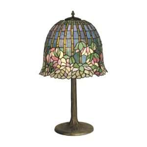 Table Lamp, Antique Bronze/Verde and Art Glass Shade