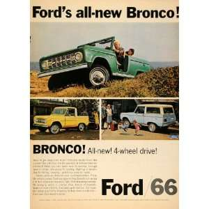 1966 Ad Ford Bronco Roadster Wagon Sports Utility Truck