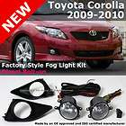Toyota Corolla 09 10 OEM Factory Style Clear Fog Light Lamp + Switch