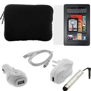 com GTMax Black Neoprene Sleeve Case + LCD Screen Protector + USB Car