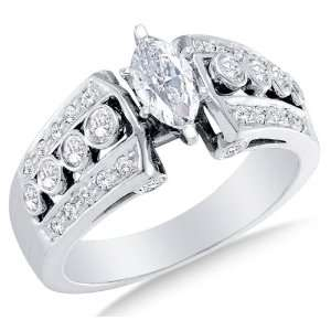 Size 13   14K White Gold Large Diamond Engagement Ring   Solitaire