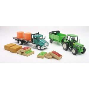 Farm Utility Truck Playset with Tractor, Dump Trailer
