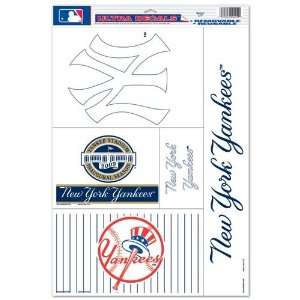 New York Yankees Decal Sheet Car Window Stickers Cling