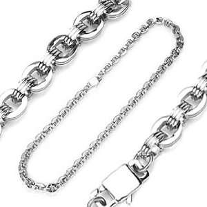 316L Stainless Steel Three Layer O Ring Chain Necklace   Length 24