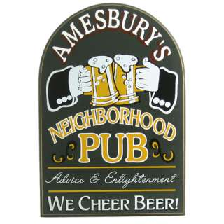 Personalized Cheers Neighborhood Pub Wooden Sign Plaque