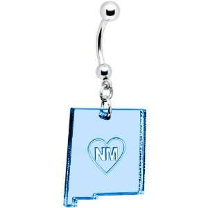 Light Blue State of New Mexico Belly Ring Jewelry