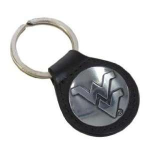 Black Leather Key Fob w/ WVU Silver Conch Automotive