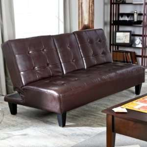 Savannah Brown Synthetic Leather Convertible Sofa