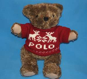 Lauren 15 JOINTED POLO TEDDY BEAR Plush Stuffed RED SWEATER Reindeer
