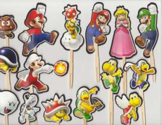Mario Bros Brothers Cupcake Cake Toppers Birthday Party decor