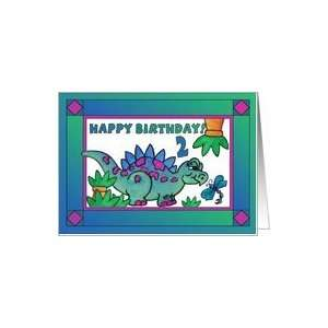 Little Dinosaur and Dragonfly Happy Birthday 2 yr old Card