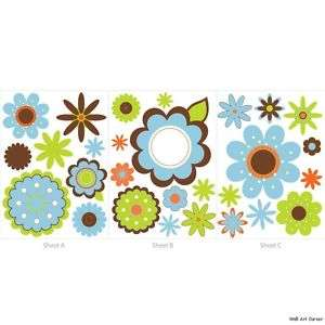 Graphic Flowers Nursery Wall Sticker Decals boys/girls
