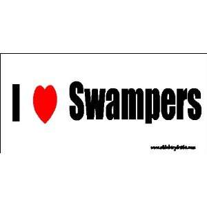 I Love Swampers Bumper Sticker / Decal Automotive