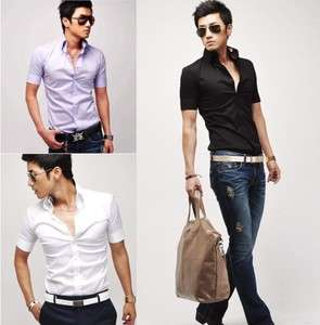 Mens Slim fit Stylish Dress Short Sleeve Shirts h60