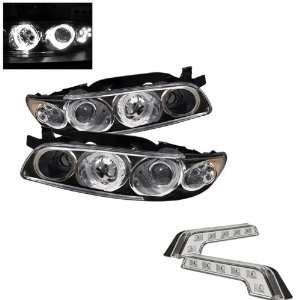 1PC Black Projector Headlights and LED Day Time Running Light Package