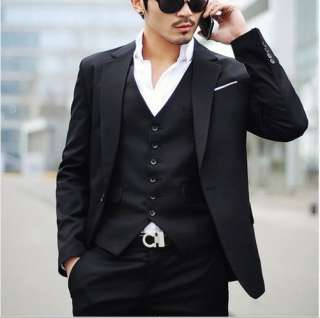 2010 NEW Mens fashion Full dress Casual/Business Black Slim fit Suit