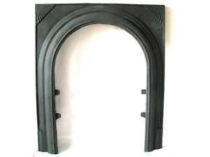 DECO CAST IRON FIREPLACE DOOR ARCH FRAME STARBURST FAN SURROUND