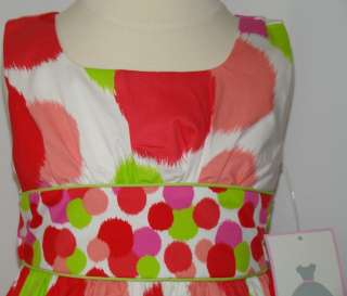 NWT Girls White Lime Pinks Dot Dress RARE EDITIONS Sz 4