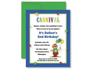 Custom Carnival Clown Birthday Party Invitations