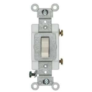 Single Pole AC Quiet Switch, Commercial Grade, Grounding, Light Almond