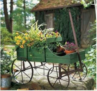 Green Amish Style Wooden Rolling Country Wagon Garden Yard Art Decor