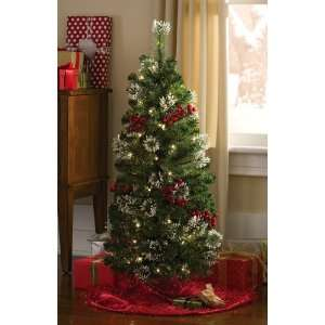 Holiday Snow Tipped Berry Tree W/ Pre lit White Lights by