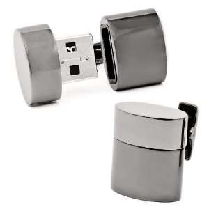 Gunmetal Oval 4GB USB Flash Drive James Bond 007 Spy Cufflinks Cuff