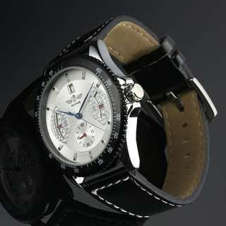 Classic SELF WINDING AUTOMATIC Luxury Mechanical Mens Black Leather