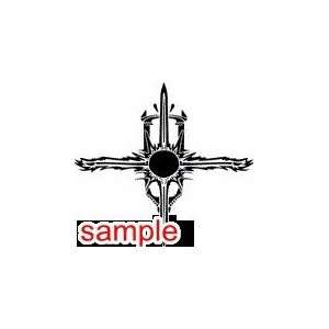 TRIBAL TRIBAL CROSS 10 WHITE VINYL DECAL STICKER