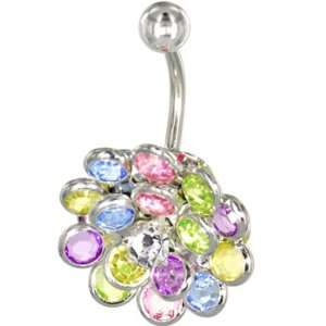 Crystalline Gem Multi Burst Belly Ring Jewelry