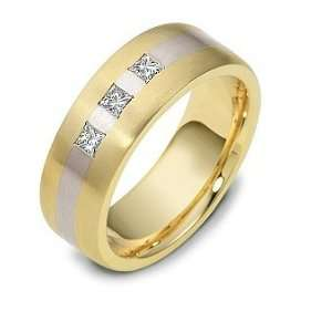 Designer Two Tone Gold 3 Diamond Wedding Band Ring   4.25 Jewelry