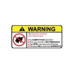 Silverado Diesel No Bull, Warning decal, sticker