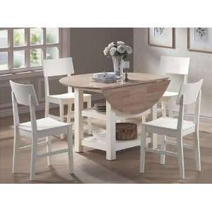 White & Natural Finish Dining Table and Chairs Set