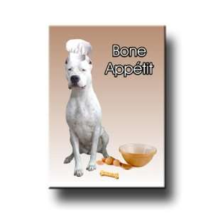 Dogo Argentino Bone Appetit Kitchen Chef Fridge Magnet