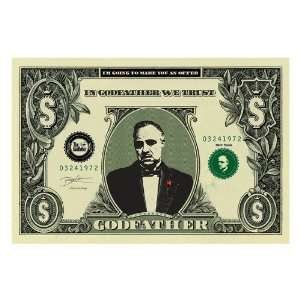 The Godfather Movie (Dollar Bill) Black Wood Mounted