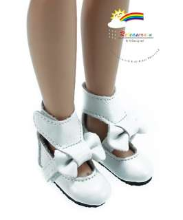White Mary Jane Bow Boots Shoes for 12 Tonner Marley