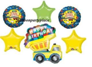 HAPPY BIRTHDAY DUMP TRUCK mylar balloons party supplies gr8 1st 2nd
