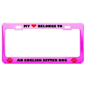 An English Setter Dog Pet Pink Metal License Plate Frame