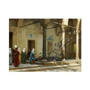 Jean Leon Gerome   Harem Women Feeding Pigeons In A