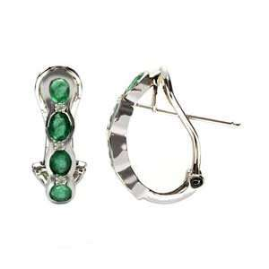 14k White Gold, Emerald & Diamond Earrings (1.45 ctw
